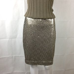 WHBM Silver Gold Sequin Pencil Skirt 4 NWT $120